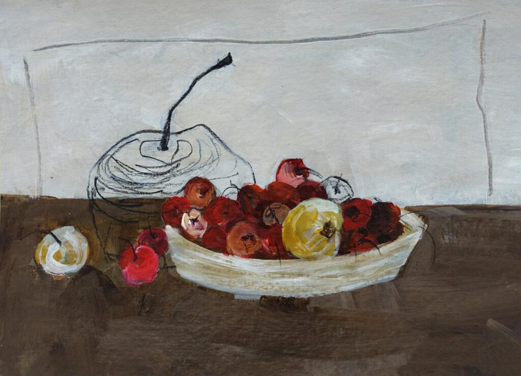 Äpfel, 13x18 cm, Mischtechnik auf Papier, 2018.