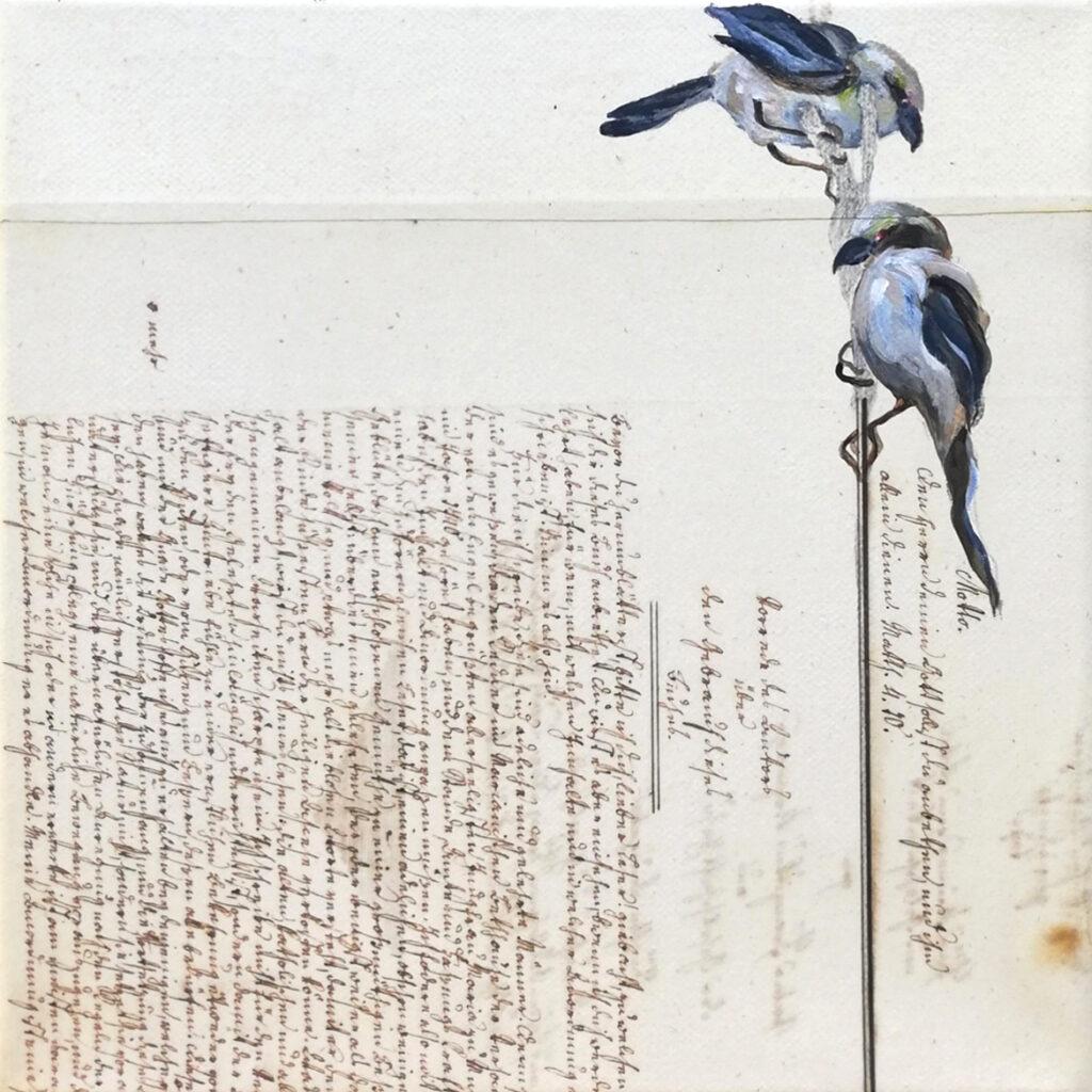 inside – out (Das Glück is a Vogerl), me, 20 x 20 cm, Acryl auf Papier, 2021.