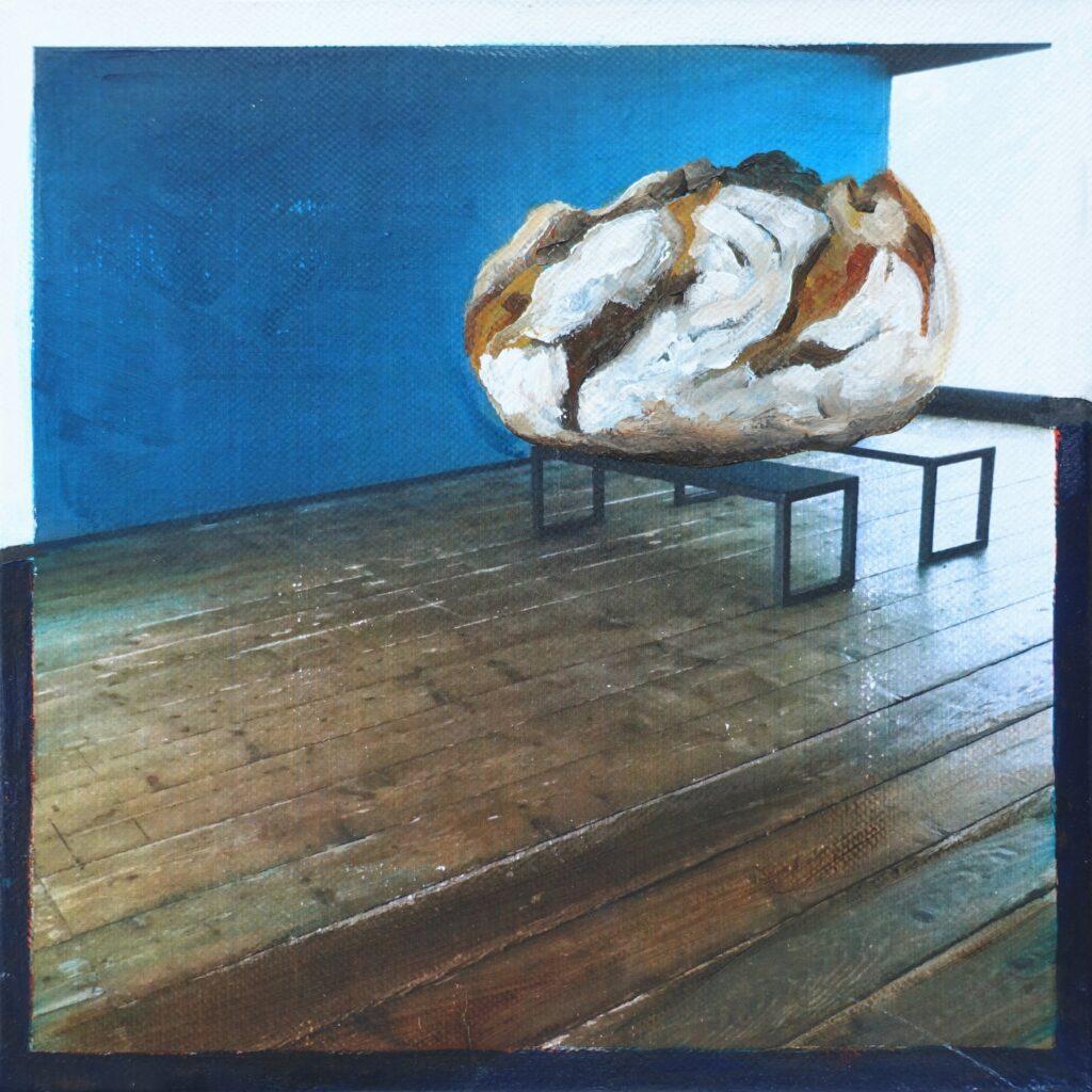 inside – out (Das Glück is a Vogerl), bread, 20 x 20 cm, Acryl auf Papier, 2021.