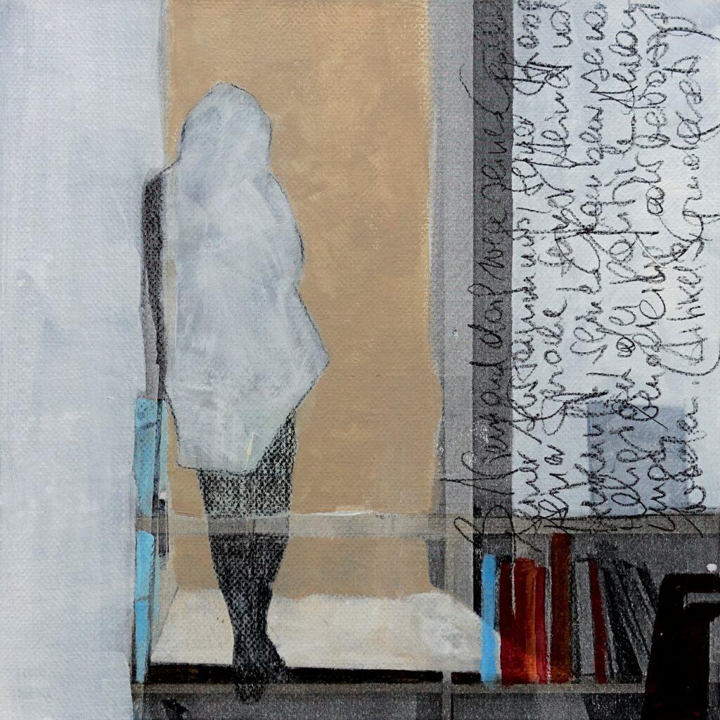 inside – out (Das Glück is a Vogerl), Grundrecht, 20 x 20 cm, Mischtechnik auf Papier, 2021.