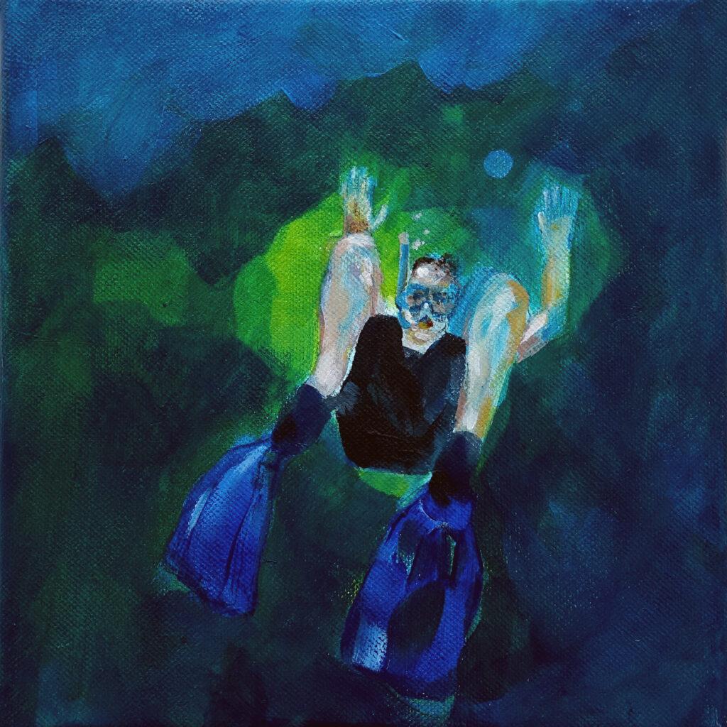 inside – out (Das Glück is a Vogerl), Mathias, 20 x 20 cm, Acryl auf Leinen, 2021.