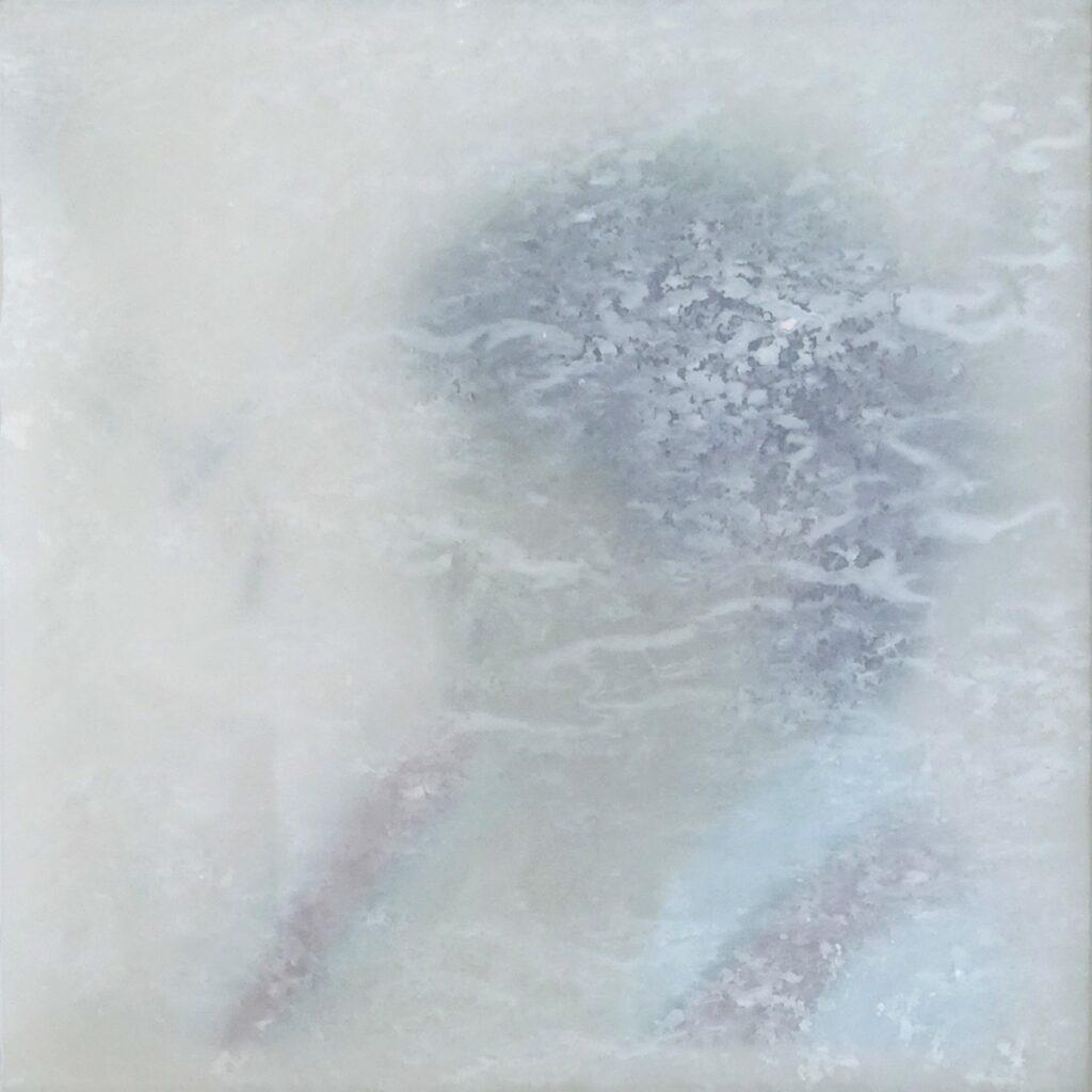inside – out (Das Glück is a Vogerl), Abschied, 20 x 20 cm, Mischtechnik auf Transparentfolie, 2021.