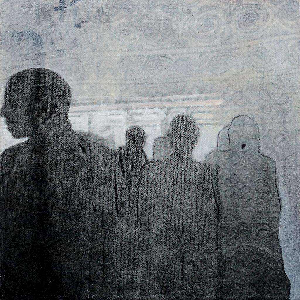 inside – out (Das Glück is a Vogerl), Schattenwesen, 20 x 20 cm, Mischtechnik auf Papier, 2012.
